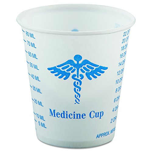 SOLO R3-43107 Paper Medical & Dental Graduated Cups, 3oz, White/Blue, Bag of 100 (Case of 50 Bags) by Solo Foodservice
