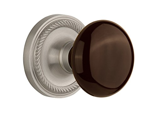 (Nostalgic Warehouse Rope Rosette with Brown Porcelain Knob, Mortise - 2.25