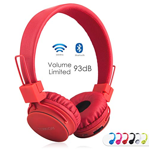 Kids Bluetooth Headphones Foldable Volume Limiting Wireless/Wired Stereo On Ear HD Headset with SD Card FM Radio in-line Volume Control Microphone for Children Adults (Red)