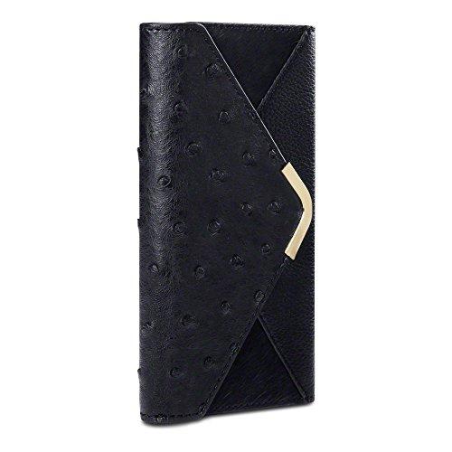 Samsung Galaxy S6 Case, Terrapin [Ostrich] [Ponyskin] Samsung Galaxy S6 Wallet [Black] Purse Style Case for Samsung Galaxy S6 - Black