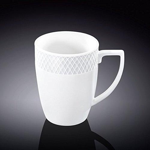 Wilmax WL-880108, 12 oz. Julia Collection White Porcelain Mug, Classic European Bone China Hot Drinks Coffee Tea Mug/Cup