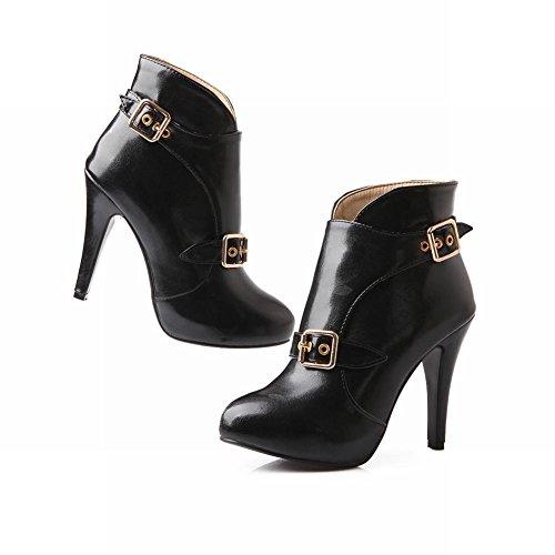 Carol Zapatos Fashion Mujeres Hot Sale Western Hebilla New Arrival Party Stiletto Tacones Altos Botines Negro