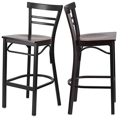 Modern Style Metal Barstools Dining Room Restaurant Pub Lounge Commercial Ladder Back Design Chair Commercial Grade Powder Coated Frame Finish Home Office Furniture - Set of 4 Walnut Wood Seat ()
