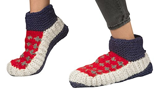 Tribe Azure 100% Wool Slipper Indoor Cosy Warm Winter Shoes Socks Natural Slip On Knitted (Blue (Cosy Winter Warmer)