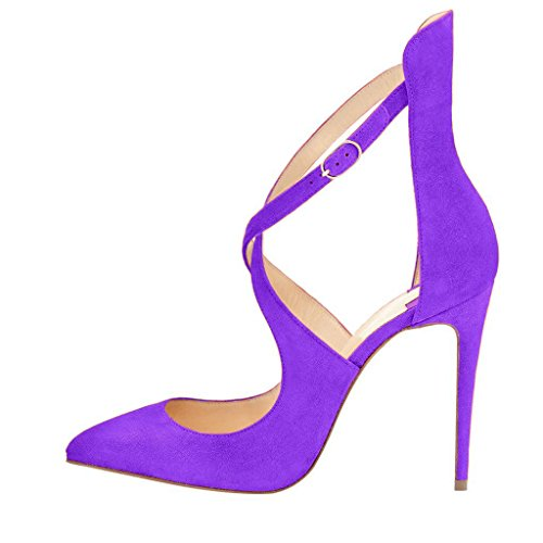 Pumps Shoe 4 Fashion High Floral Stiletto Women FSJ Suede 15 Sandals Strap Size Heel Orchid Leopard XqxvwRwSB