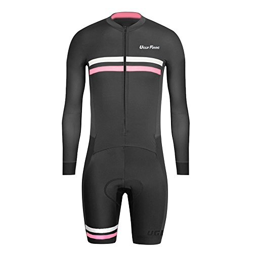 Uglyfrog #01 Mens Triathlon Suit Long Sleeve Jersey Short Legs Skinsuit Tri Kit Cycling Skinsuit Breathable Quick Dry Team Bike Clothing with Gel Pad (Team Gb-triathlon)