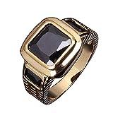 Himpokejg Men's Fashion Square Shape Faux Gemstone Wedding Birthday Band Jewelry Ring - Black US 10