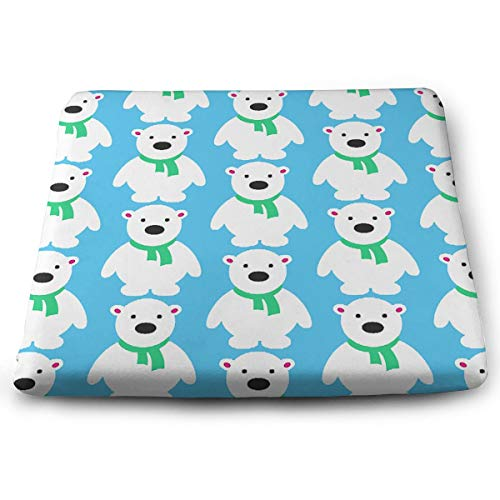 (MODREACH Novelty Perfect Indoor Outdoor Square Seat Cushion - Cute Polar Bear Ice Blue Chair Pads Memory Foam Filled for Patio/Office/Kitchen/Desk/Travel/Kids/Yoga)