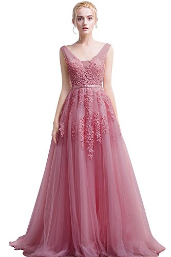 Evening Cocktail Gown Long Dress (Women's Double V-neck Tulle Appliques Long Evening Cocktail Gowns (Dusty Pink,4))