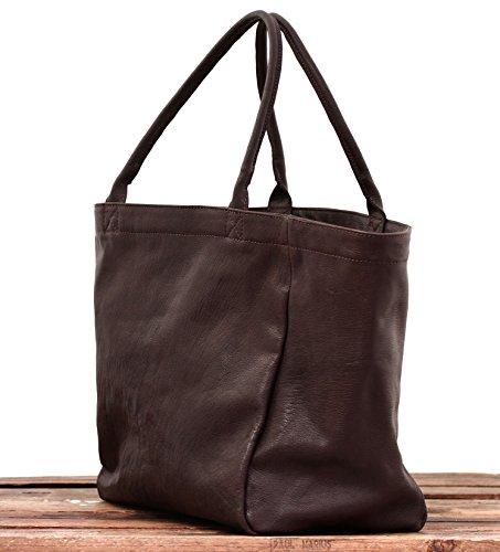 MON PARTENAIRE Tiefdunkelbraun PAUL MARIUS weiches Leder Tasche Handtasche Größe M