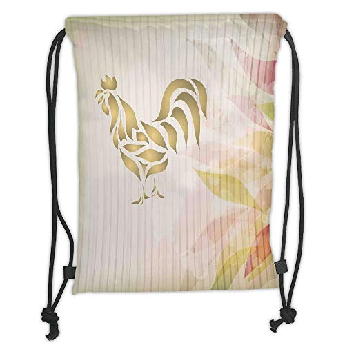 New Fashion Gym Drawstring Backpacks Bags,Kitchen Decor,Abstract Modern Style Home Kitchen Cafe Design Rooster Animal Print Signage,Cream Pastel Brown Soft Satin,Adjustable String