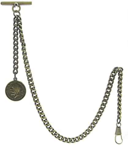 Albert Chain Pocket Watch Curb Link Chain Antique Brass Color Old Coin Design Fob T Bar AC93
