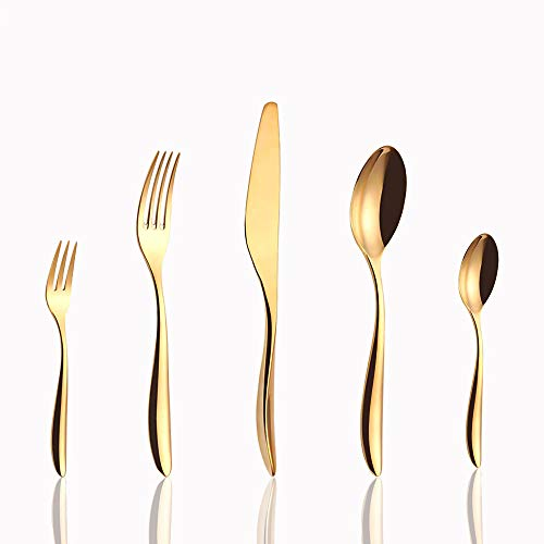 AKCEKDES golden cutlery, mirror polished dishwasher safe cutlery set fork and spoon cutlery knife