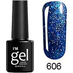 ❀Jinjiums nail art❀,8ml Fast Drying Peel Off Nail Shining UV Gel Polish Soak Off Nail Art Topcoat Base Coat Gel Varnish suit for beginner (F)