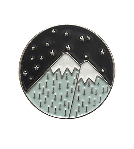 bobauna Snow Mountain Stars Enamel Brooch Pins for Hiker Adventure Travel Lover (Snow Mountain Brooch)
