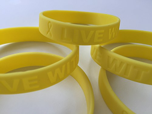AIRNIX 5 Pack Yellow Silicone Bracelet Wristbands Live with Pride and Awareness Ribbon ()