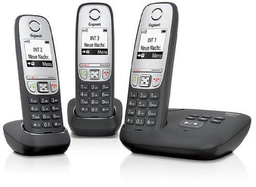 Gigaset A415A Trio Dect-Schnurlostelefon mit Anrufbeantworter (inkl. 2 zusätzlichen Mobilteile) schwarz
