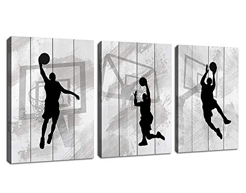 "Wall Art Basketball Canvas Pictures Black and White Themes 3 Piece Canvas Art Sport Painting Prints Contemporary Artwork for Kids Boy Room Office Wall Decor Home Decoration 12""x 16"" x 3 Panels"