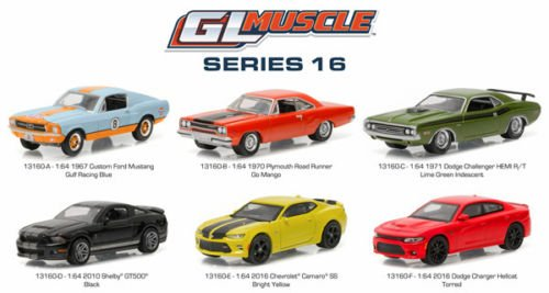 Green Model Car - NEW 1:64 GREENLIGHT MUSCLE SERIES 16 ASSORTMENT Diecast Model Car By Greenlight Set of 6 Cars