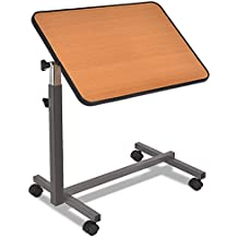 Goplus Overbed Table Adjustable Medical Bedside Table Hospital Food Tray Rolling Laptop Desk with Tilting Top, Yellow