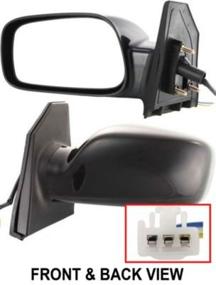 Toyota Corolla Driver Mirror - Kool Vue TY54EL Toyota Corolla CE Driver Side Power Primered Corner Mount Mirror