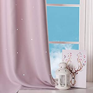 NICETOWN Children Window Darkening Curtains – Bedroom Star Cutouts Starry Night Magical Drape Panels for Girl's Princess Themed Rooms/Nursery Room (Lavender Pink, 42 inches X 63 inches, 2 Pieces)