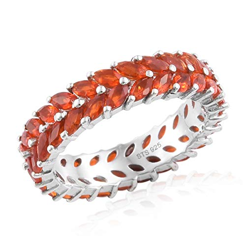 - Marquee Fire Opal Eternity Band Ring 925 Sterling Silver Platinum Plated Jewelry for Women Size 7 Ct 2.4