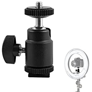 Mini Ball Head Hot Shoe Mount Adapter 360-degree Rotation with 1/4 Screw Mount for DSLR Cameras Camcorder Video Light LCD Monitors