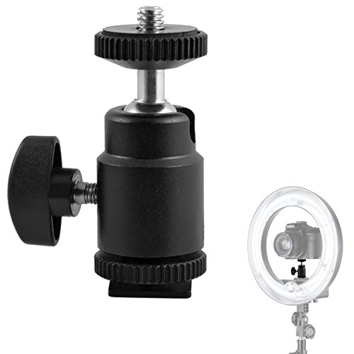 Mini Ball Head Hot Shoe Mount Adapter 360-degree Rotation 1/4