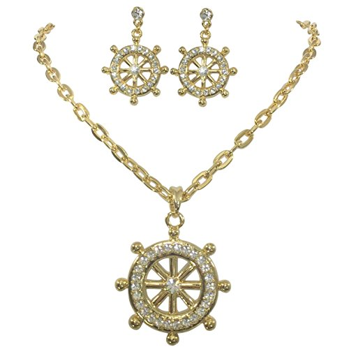 (Gypsy Jewels Ship Wheel Gold Tone Rhinestone Bling Boutique Style Statement Nautical Necklace & Dangle Post Earrings Set)