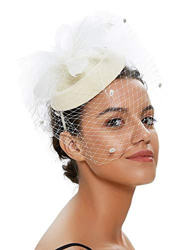 - Zivyes Fascinator Hats for Women Pillbox Hat with Veil Headband and a Forked Clip Tea Party Headwear (1-Beige)