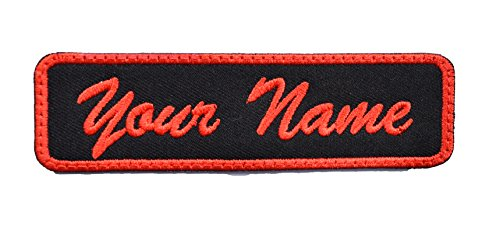Custom Name Tag Embroidered Sew or Iron on Patch (Red and Black tag)