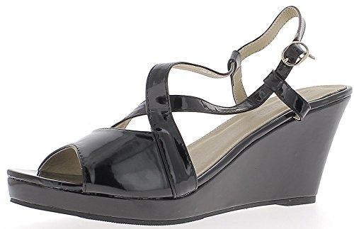 Sandalias de cuña grande tamaño cuero negro tacón 8 812a140aa842