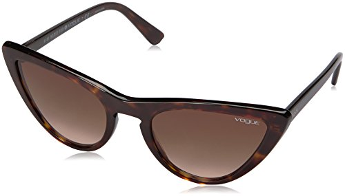 VOGUE Women's Plastic Woman Cateye Sunglasses, Dark Havana, 54 - Havana Vogue Glasses