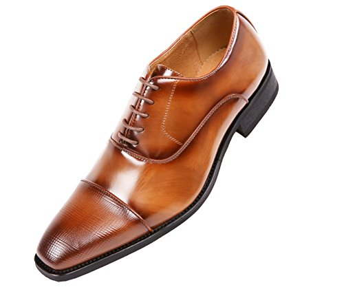 Amali Men's Smooth Faux Leather Cap Toe Oxford Dress Shoes Style Conrad Tan