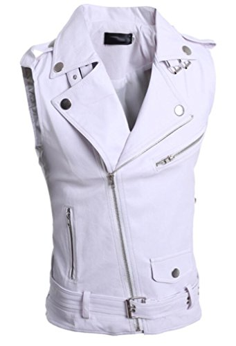 Bstge Mens Solid Individuality Motorcycle Biker Leather Vest L White - Solid Leather Vest