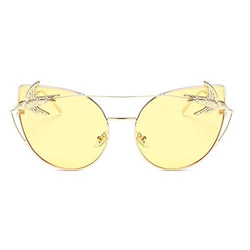 Gafas metálica de sol clásicas Gafas gafas sol de Gafas retro unisex con Decoración montura sol de Hombres aves Ojos con mujeres Retro sol de para de de d montura Amarillo Gafas grandes de gato la personalidad 4qOC16Un