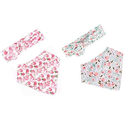 - Baby Girl Headband Bib Gift Set by Pickle & Olive, Set of 4, Includes 2 Floral Bandana Bibs and 2 Matching Headbands For Girls