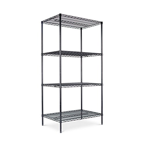 Alera ALESW503624BL Industrial Heavy-Duty Wire Shelving Starter Kit, 4-Shelf, 36w x 24d x 72h, Black - Use Shelf Kit
