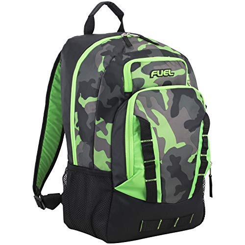 Fuel Escape Travel Backpack, School Bookbag, Durable Camping or Hiking Backpack, Black/Lime Green/Camo Print (Lime Green Book Bags)