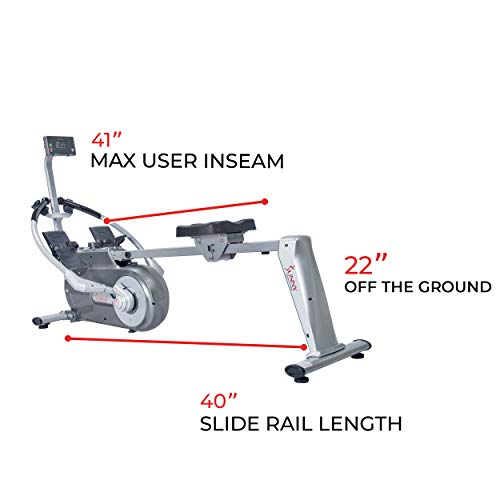 Sunny Health & Fitness Full Motion Magnetic Rowing Machine Rower with Advanced LCD Display, Elevated Seat, 265 LB Max Weight and Foldable - SF-RW5864