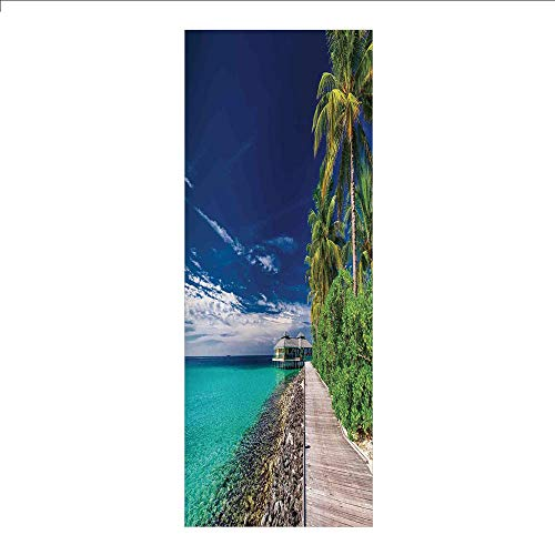 3D Decorative Film Privacy Window Film No Glue,Ocean,A Wooden Boardwalk at The Beach Under Palm Trees in Dark Sky Hawaiian Paradise Scene Decorative,Turquoise Green,for Home&Office ()