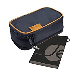 "JAVOedge Women's Double Sided Cosmetic Bag, Dark Blue, 8"" x 3.5"" x 4.5"""