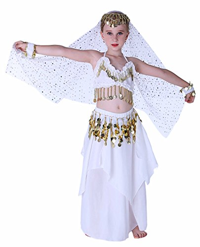Indian Dance Dress Costume (Seawhisper White Girls Belly Dance Indian Costumes Dress Halloween Costume for 10 12)