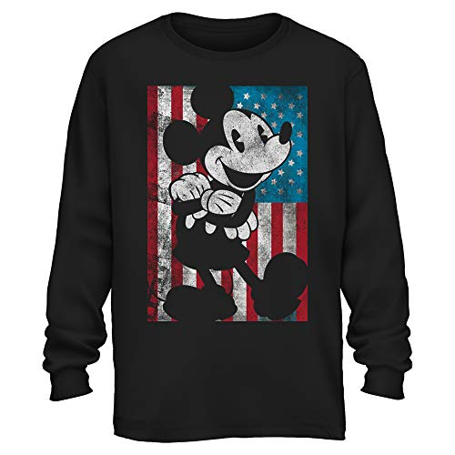 Disney Mickey Mouse American Flag Classic Vintage Retro Distressed America Patriotic Graphic Men's Adult Long Sleeve Shirt (Black, Medium) ()