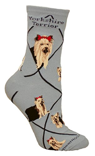Yorkshire Terrier Dog Gray Large Cotton Socks