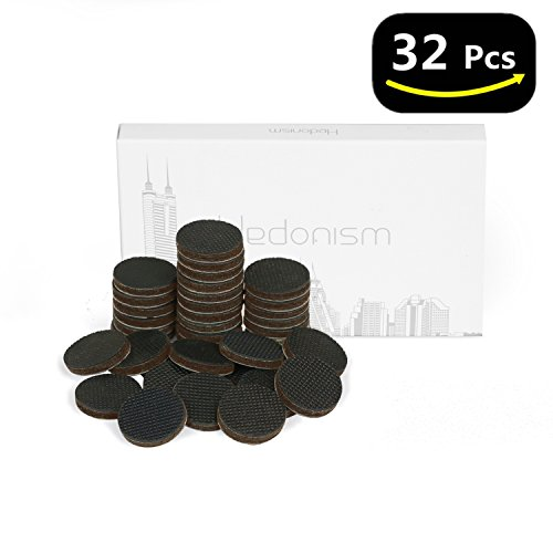 Non Slip Furniture Pads with 32 Pcs Furniture Grippers - 1' Self-Stick Furniture Round Felt Pads for Floor Protectors & Furniture Stoppers by Hedonism (Square Coaster Weight)