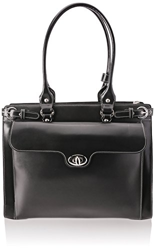 [McKleinUSA WINNETKA 94835 Black Leather Ladies' Briefcase w/ Removable Sleeve] (Italian Leather Ladies Briefcases)