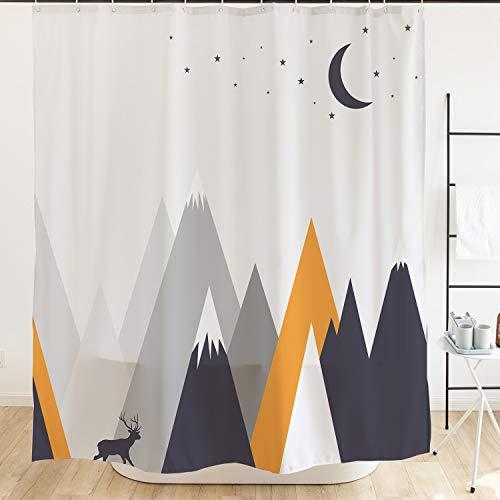 Ofat Home Elk Kids Shower Curtain with Hooks Deer Roaming Below Mountain, Waterproof Fabric for Bathroom Accessories, No Liner Needed, Moon Stars Gray Orange 72