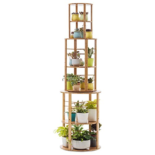Flower Stand with 6 Tiers Tall 360 Degree Rotation Floor-Standing Plant Stand Balcony Flower Display Rack